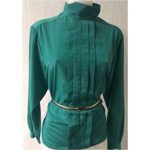 Green Vintage Pleated Top Size 8